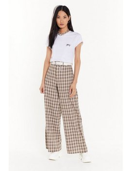 Girl Just Relax Wide Leg Check Pants by Nasty Gal