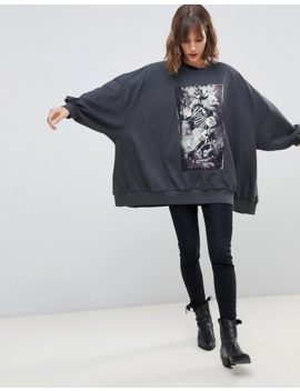Religion Oversized Graphic Sweat With Praying Skeleton by Religion