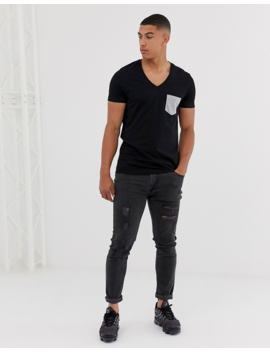 Asos Design T Shirt With Deep V Neck And Contrast Pocket In Black by Asos Design