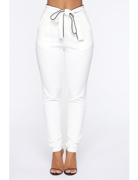 Don't Let Go Tie Waist Skinny Pants   White by Fashion Nova