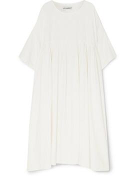 Mega Oversized Pleated Slub Linen Dress by L.F.Markey