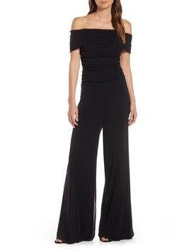 Ruched Bodice Off The Shoulder Mesh Jumpsuit by Eliza J
