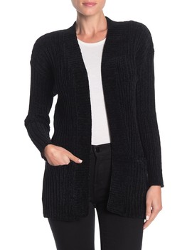 Open Front Pocketed Chenille Cardigan by Woven Heart