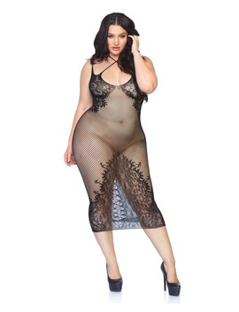 Black Net Lace Halter Plus Size Lingerie Dress by Ami Clubwear
