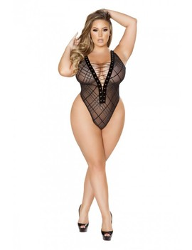 Sexy Black Sheer Lace Up Teddy Intimates Plus Size by Ami Clubwear