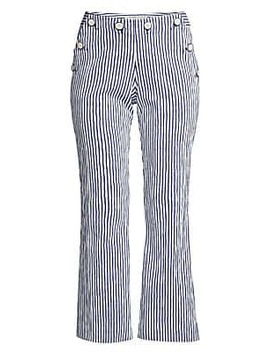 Lyric Theater Striped Cropped Pants by Trina Turk