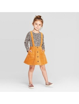 toddler-girls-long-sleeve-leopard-t-shirt-and-corduroy-skirtall-set---art-class-gold by shirt-and-corduroy-skirtall-set