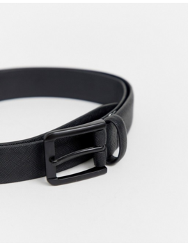 River Island Faux Leather Belt In Matte Black by River Island