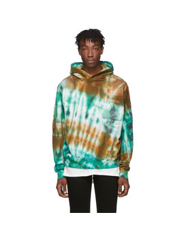 Blue Tie Dye Commando Patch Hoodie by Amiri