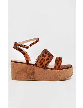 Leopard Twin Strap Cork Flatform Sandal by Prettylittlething