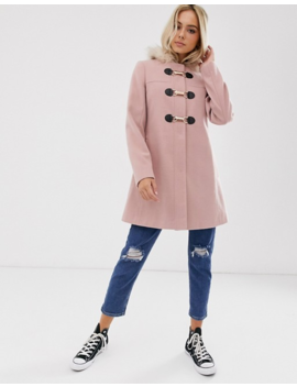Asos Design Duffle With Swing Skirt And Metal Work Coat In Pink by Asos Design