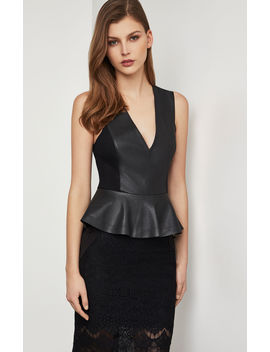 Faux Leather Peplum Bodysuit by Bcbgmaxazria