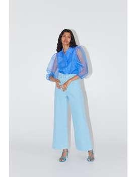 Organza Puff Sleeve Blouse Topswoman by Zara