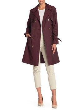 Double Breasted Belted Rain Trench Coat by Cole Haan
