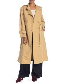 Long Linen Blend Trench Coat by Vince