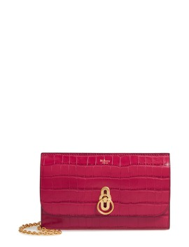 Amberley Croc Embossed Leather Clutch by Mulberry