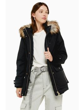 Black Hooded Parka Jacket by Topshop