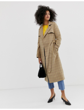 Warehouse Trench Coat In Check by Warehouse