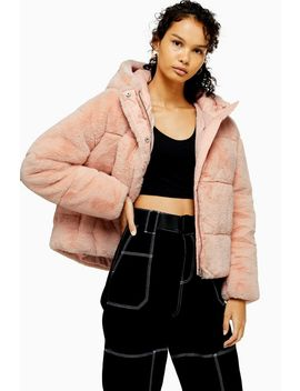 Pink Faux Fur Puffer Jacket by Topshop