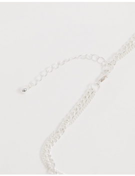Asos Design Crystal Pendant Neck Chain In Silver Tone by Asos Design