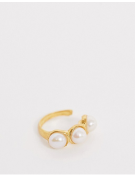 Asos Design Sterling Silver With Gold Plate Mix &Amp; Match Pearl Ear Cuff by Asos Design
