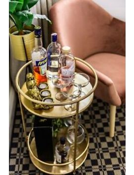 Gold Drinks Trolley With 2 Tiers 30's Art Deco Vintage Home Bar Cart by Ebay Seller