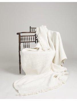 Voz Apparel Organic Cotton Textile Fringe Blanket   Ivory by Garmentory