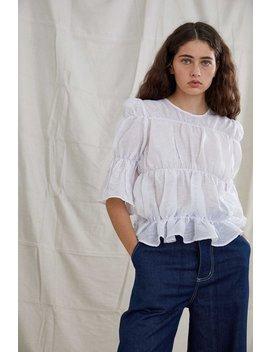 Ovna Ovich Silk Linen Obira Top   White by Garmentory