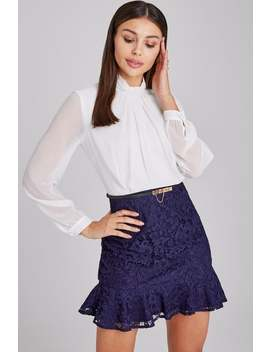 Paper Dolls Portsea Navy And White Lace Belted Peplum Mini Dress by Little Mistress