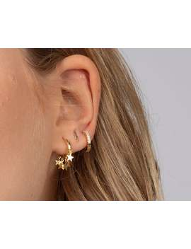 Hoop Earrings With Dangling Star Charms, Star Gold Hoops, Dainty Earrings, Dainty Hoops, Gold Hoops, Minimalist Earrings, Star Hoop Earrings by Etsy