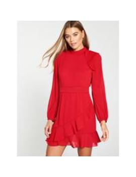 High Neck Dobby Frill Dress   Red by Whistles