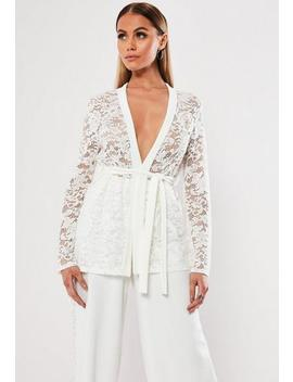 White Co Ord Lace Tailored Blazer by Missguided