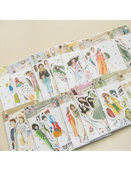 Lovely Girls Stickers Scrapbooking Hand Book Waterproof Beauty Fashion Girl Sticker For Laptop Children Kids Notebook Pegatinas by Ali Express.Com