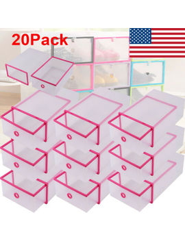 20 X Shoe Box Transparent Shoe Storage Plastic Clear System Organiser Stackable by Unbranded