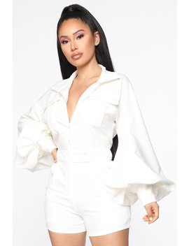 Bring It Back Utility Romper   Off White by Fashion Nova