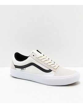 Vans Old Skool Pro Marshmallow &Amp; Black Skate Shoes by Vans