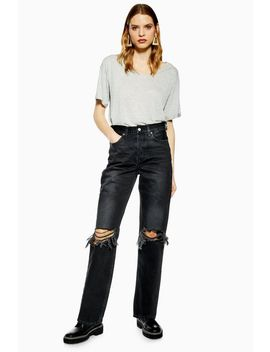 Washed Black Rip Dad Jeans by Topshop