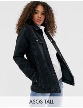 Asos Design – Svart Urtvättad Girlfriend Jacka I Tall Passform by Asos Design