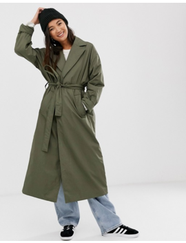 Weekday Lightweight Padded Trench In Khaki Green by Weekday