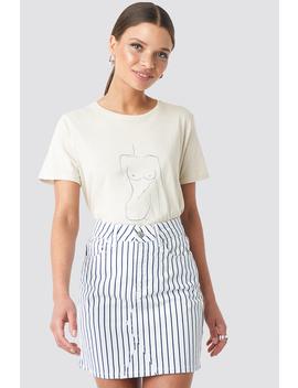 Pin Striped Denim Skirt White by Na Kd
