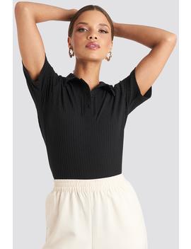 Button Up T Shirt Black by Emiliebritingxnakd