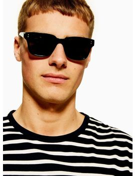 Black Shiny 50s Sunglasses by Topman