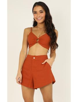 My Mind Now Two Piece Set In Rust Linen Look by Showpo Fashion