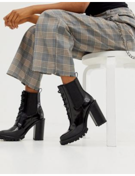 Asos Design Ellen Chunky Lace Up Boots In Black by Asos Design