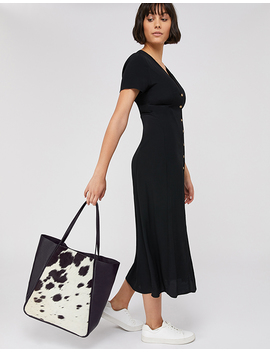 Suki Cow Print Leather Shopper Bag by Accessorize