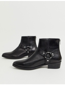 Asos Design Wide Fit Stacked Heel Western Chelsea Boots In Black Leather With Buckle Detail by Asos Design