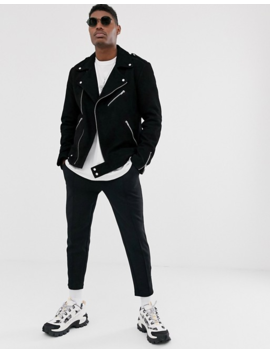 Asos Design Suede Biker Jacket In Black by Asos Design
