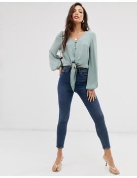 Asos Design Tall Long Sleeve Button Front Top With Tie Detail by Asos Design