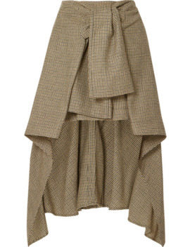 Asymmetric Houndstooth Wool Skirt by Chloé