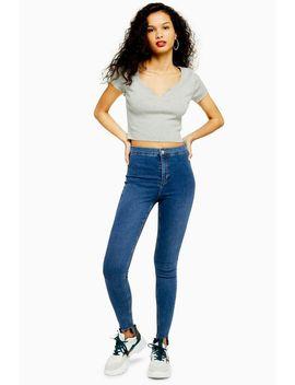 Mid Blue Jagged Hem Joni Jeans by Topshop